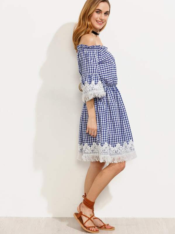 Blue Checkerboard Crochet Trim Off The Shoulder Dress -SheIn(Sheinside)