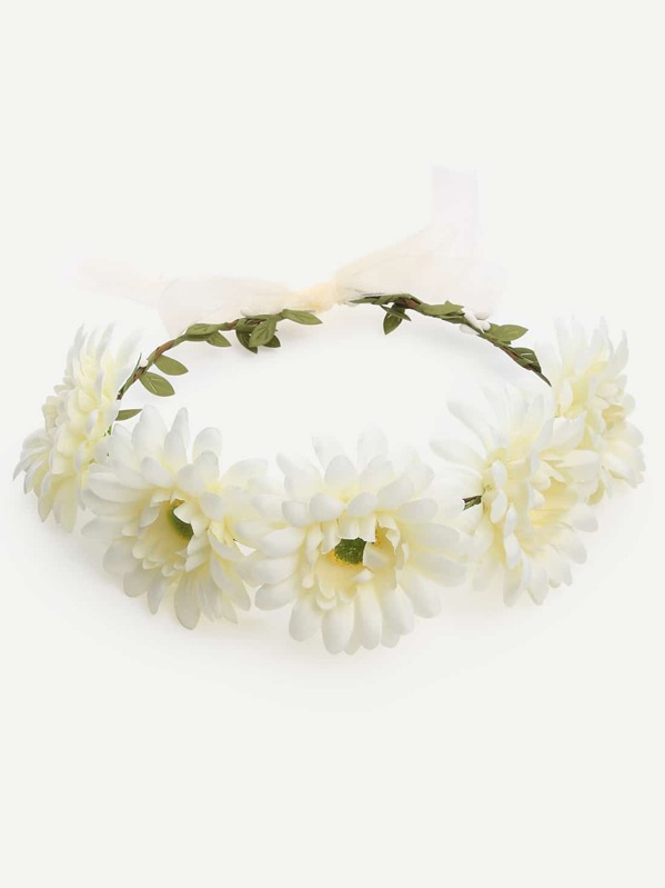 White Flower Crown Hairband -SheIn(Sheinside)