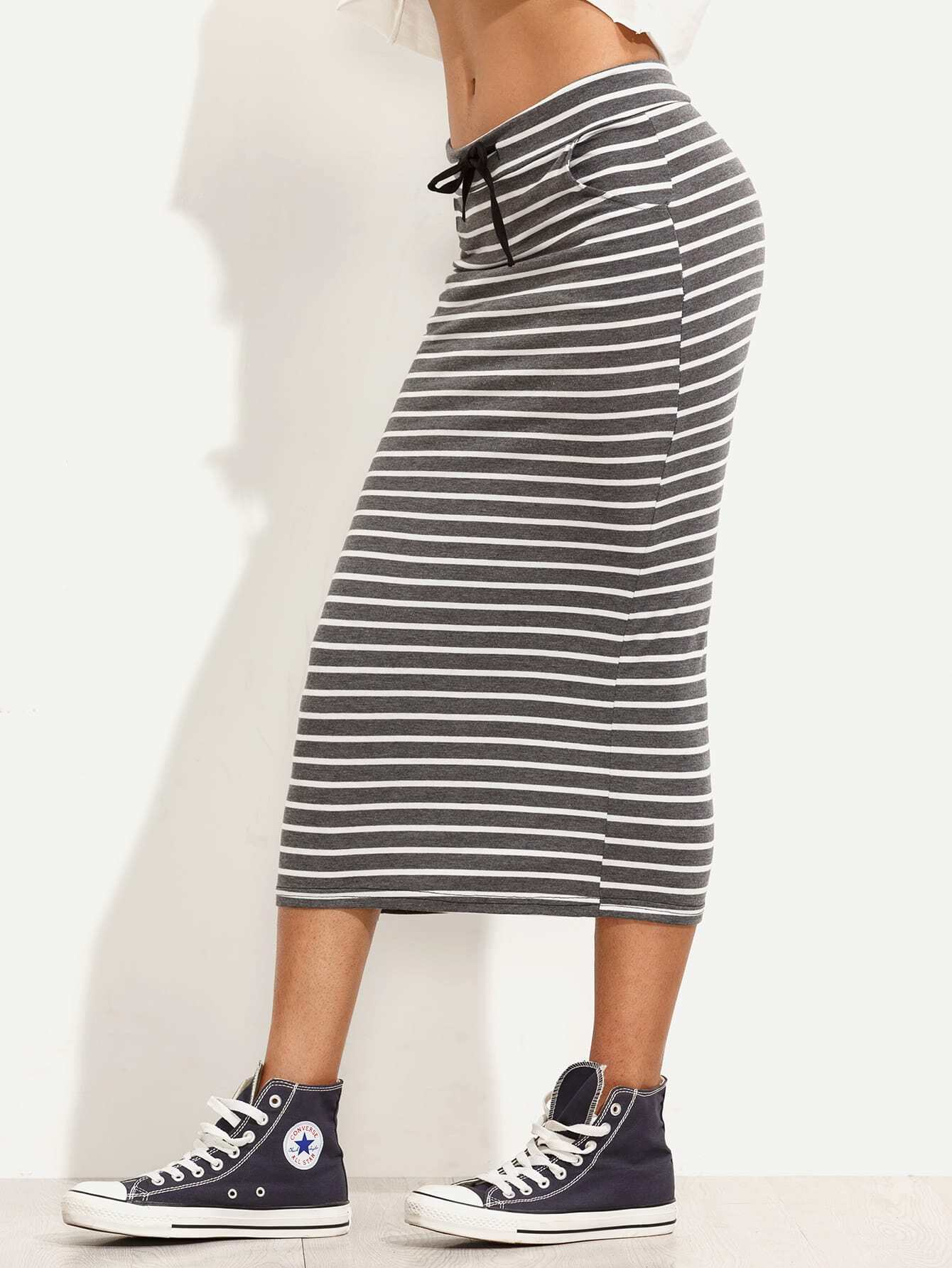 striped drawstring waist tea length skirt shein sheinside