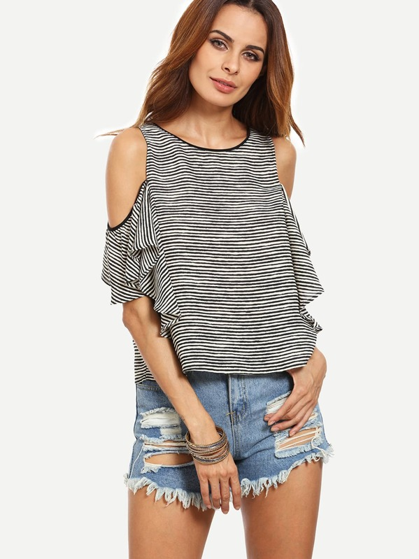 376aee2c2d28a Black and White Striped Cold Shoulder Blouse -SheIn(Sheinside)