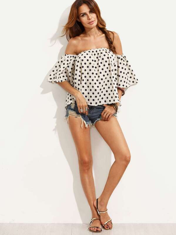 e9cbf41a3fb White Polka Dot Print Off The Shoulder Top | SHEIN UK