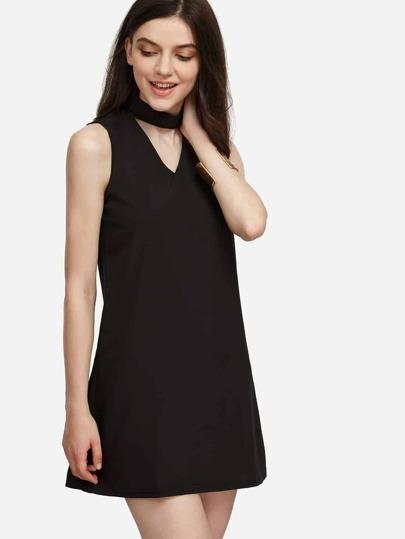 Choker Kleid Schwarz Mit Ausschnitt Design 34ARjL5