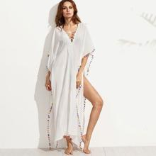 Lace-up V-cut Pom-pom Trim Split Beach Dress blouse160624507