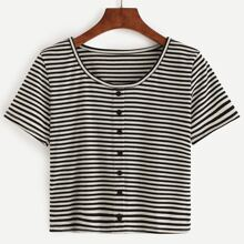 SHEIN | Buttons Striped T-shirt | Goxip