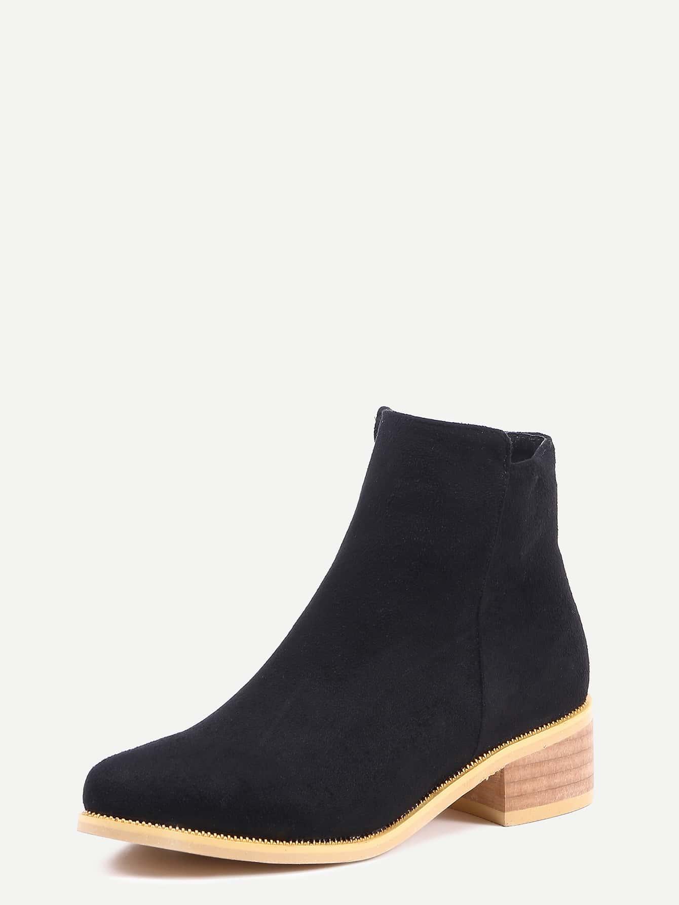black suede chunky heel boots shein sheinside