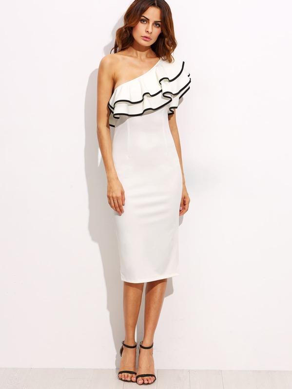 4f504fcbd فستان ميدي ضيق أبيض بكشكش واحد الكتف | شي إن
