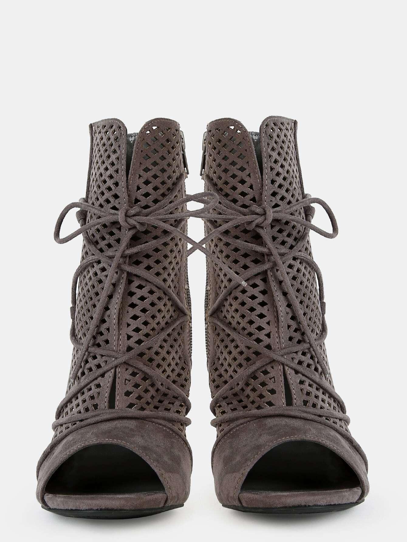 peep toe faux suede cut out boots grey shein sheinside