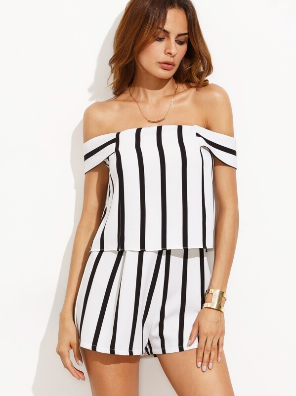 30815d348501 Black and White Stripe Off The Shoulder Short Jumpsuit