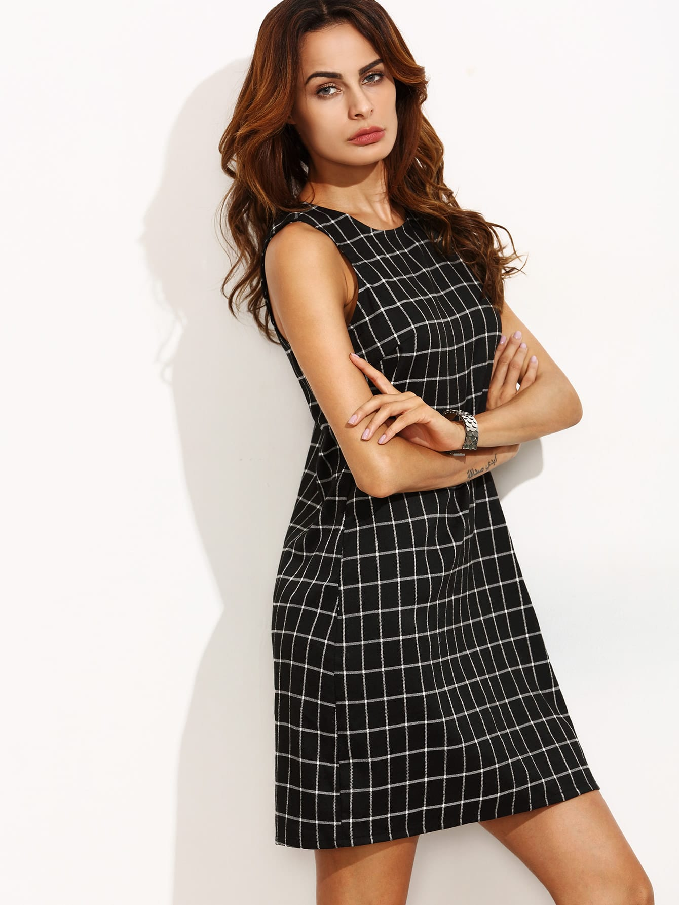 Black and White Plaid Cut Out Back Sleeveless Shift Dress -SheIn ...