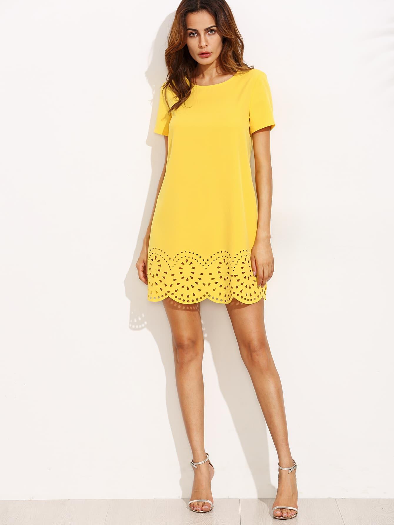 Yellow Short Sleeve Hollow Hem Shift Dress