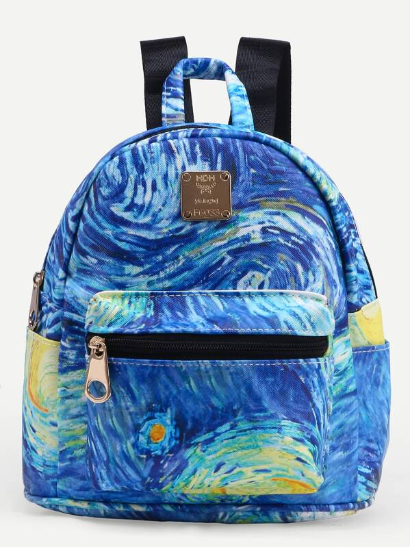 742c9b4e32 Blue Faux Leather Starry Night Print Backpack | SHEIN