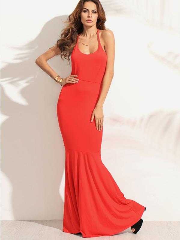 d3cd795328de Vestido cruzado sin espalda corte sirena - rojo