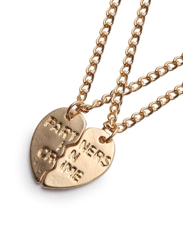 fce0ff0c37 Cheap Golden Engraved Letters Heart-shaped Couple Necklace for sale  Australia   SHEIN