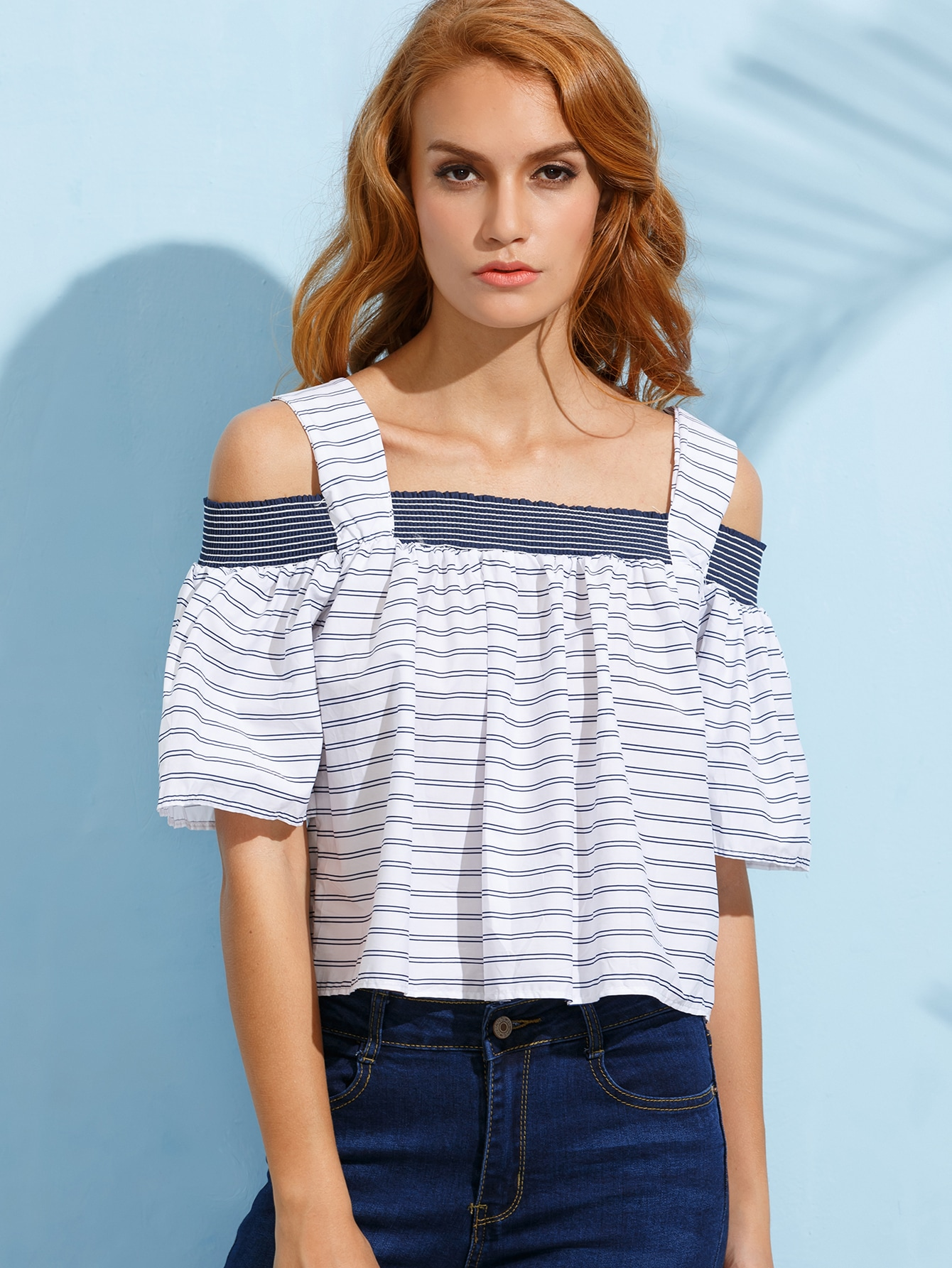923fa58aa92 White Striped Shirred Cold Shoulder Blouse -SheIn(Sheinside)