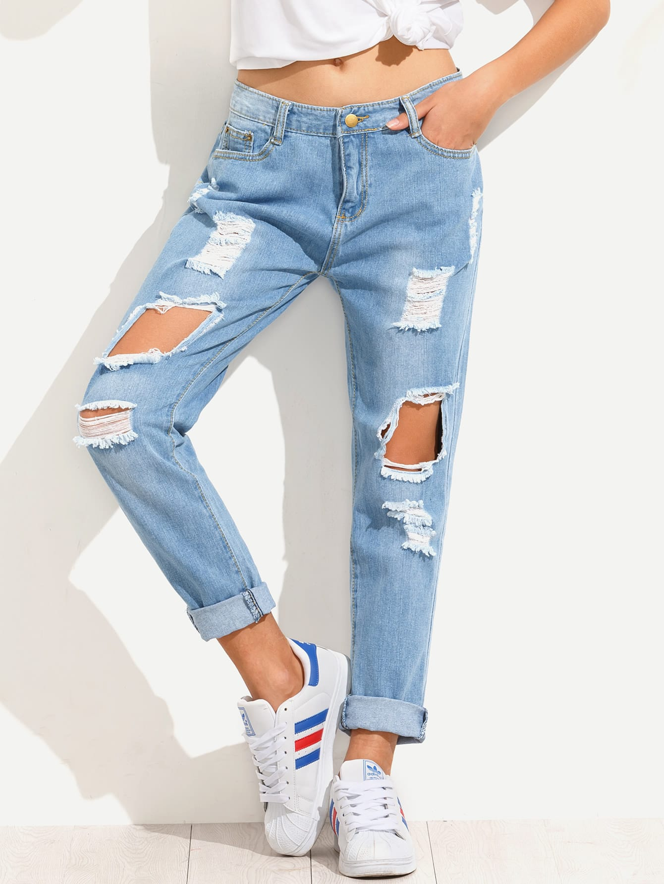 Distressed Boyfriend Jeans Women