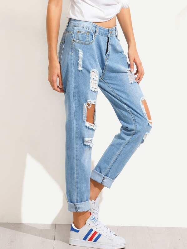 6f2246a5a09 Blue Distressed Boyfriend Jeans