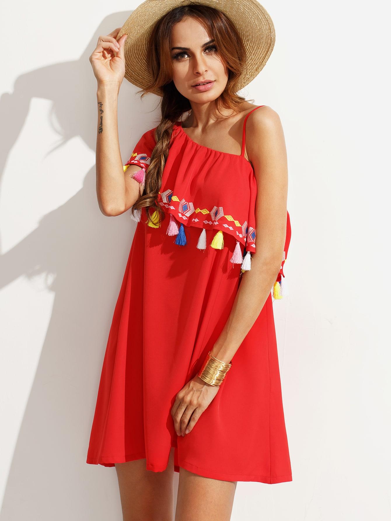 Red Embroidered Tassel Ruffle Dress -SheIn(Sheinside)