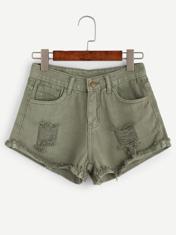 bad7470d5ee7 Olive Green Ripped Raw Hem Denim Shorts   SHEIN