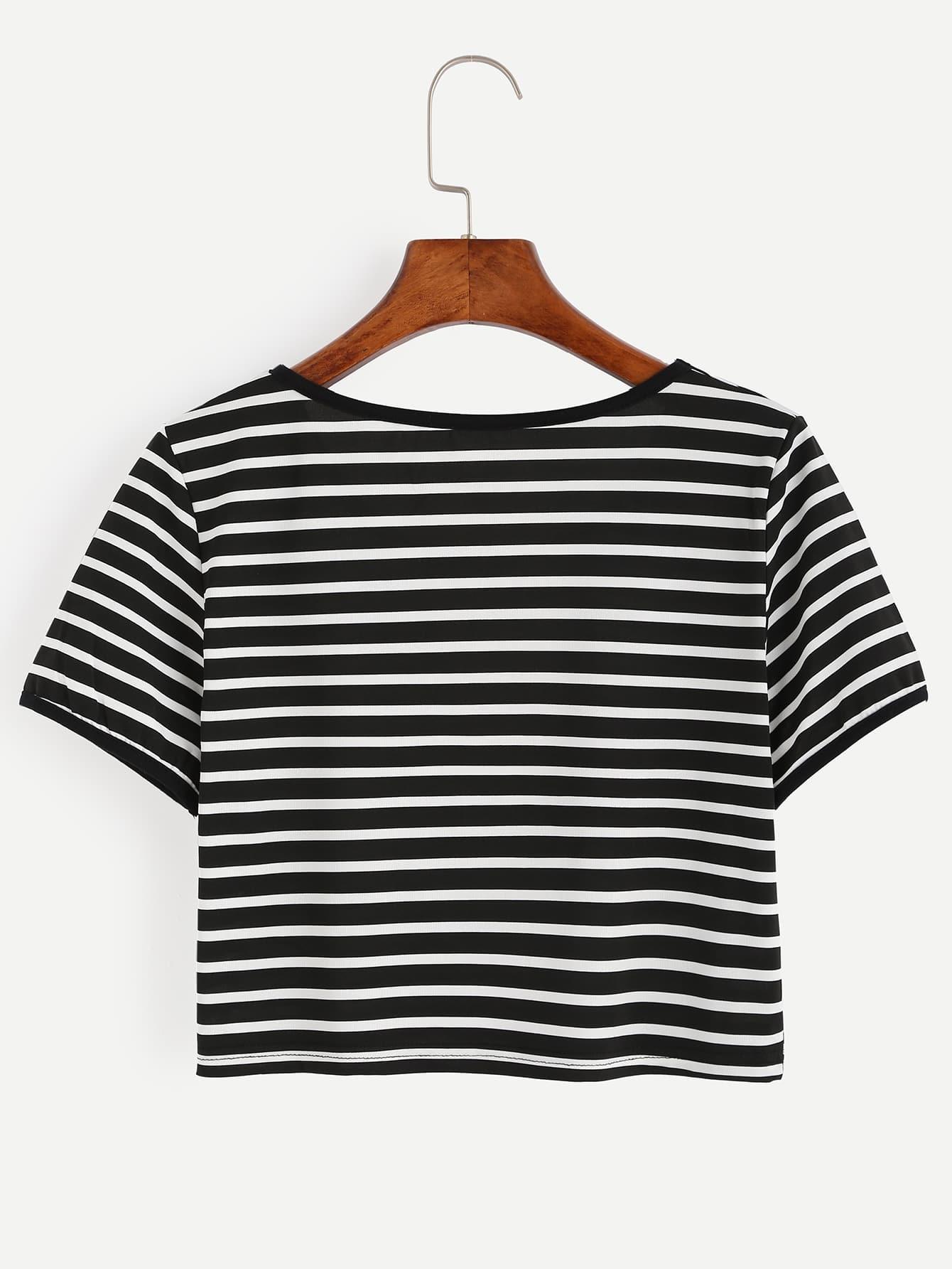Black And White Striped Crop T Shirt Shein Sheinside