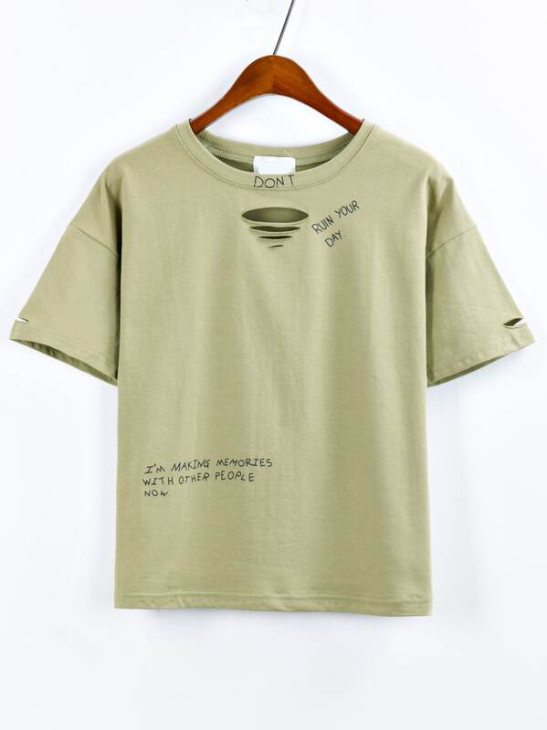Olive Green Letter Print Ripped T-shirt  d3b7a219a37