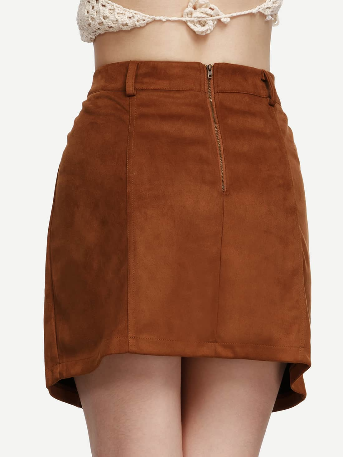 camel faux suede lace up a line skirt shein sheinside