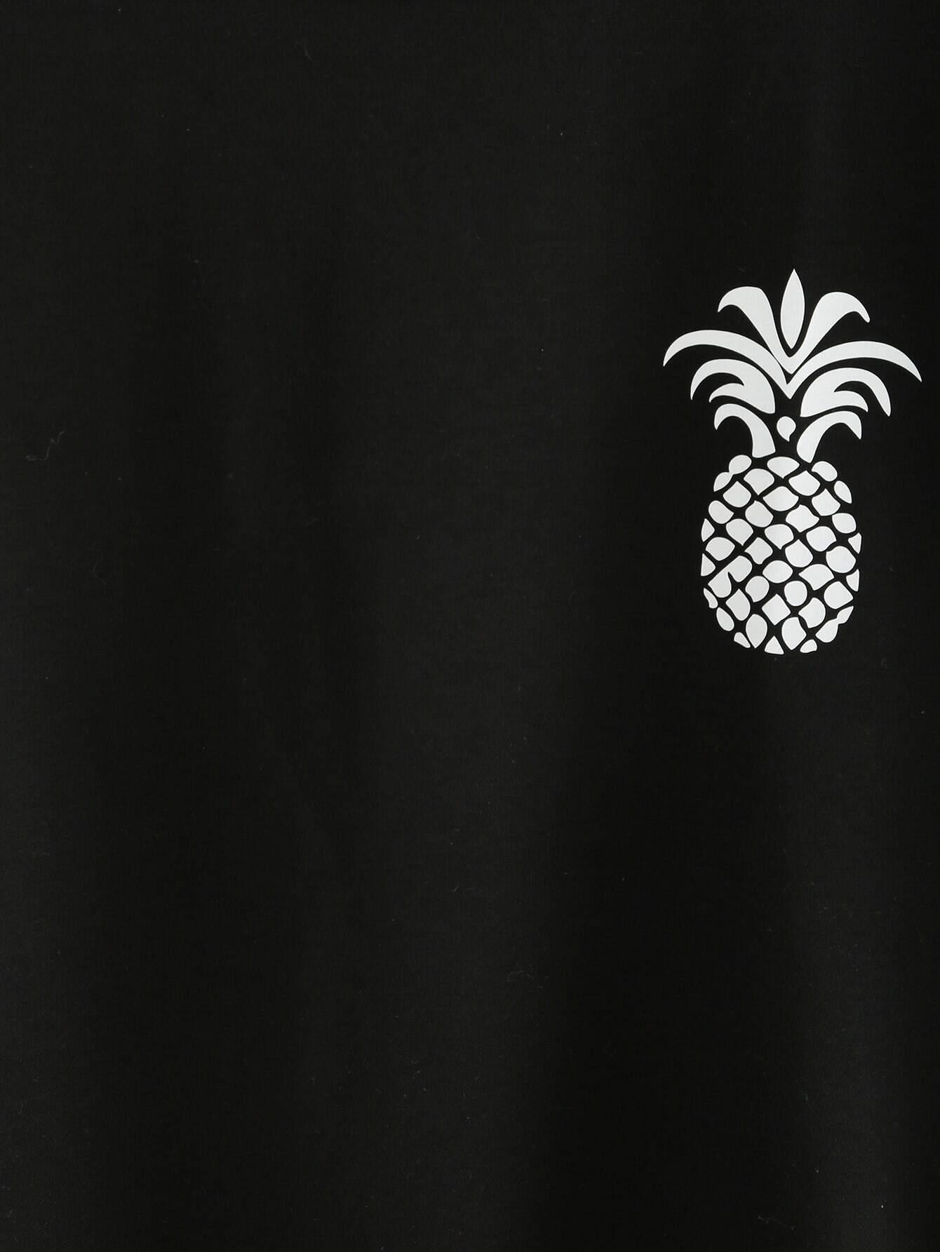 Black Pineapple Print Drop Shoulder T-shirt