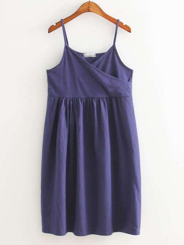 1c2eaaa3 White Plain T-shirt With Navy Spaghetti Strap Pleated Dress | SHEIN