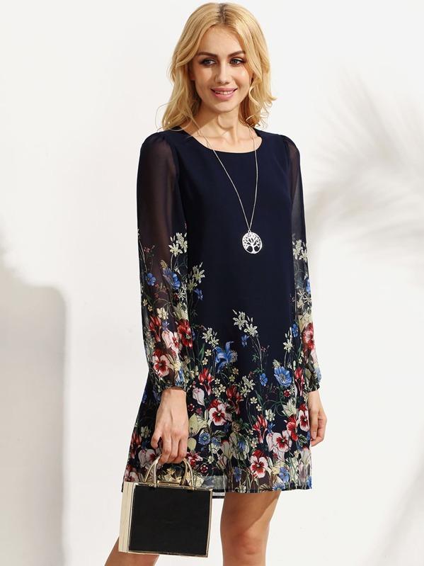 Chiffon Kleid Langarm mit Blumenmuster - mehrfarbig- German SheIn(Sheinside) 15e65cfac1