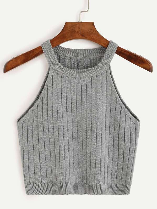 c95d6e0dc15 Ribbed Knitted Tank Top