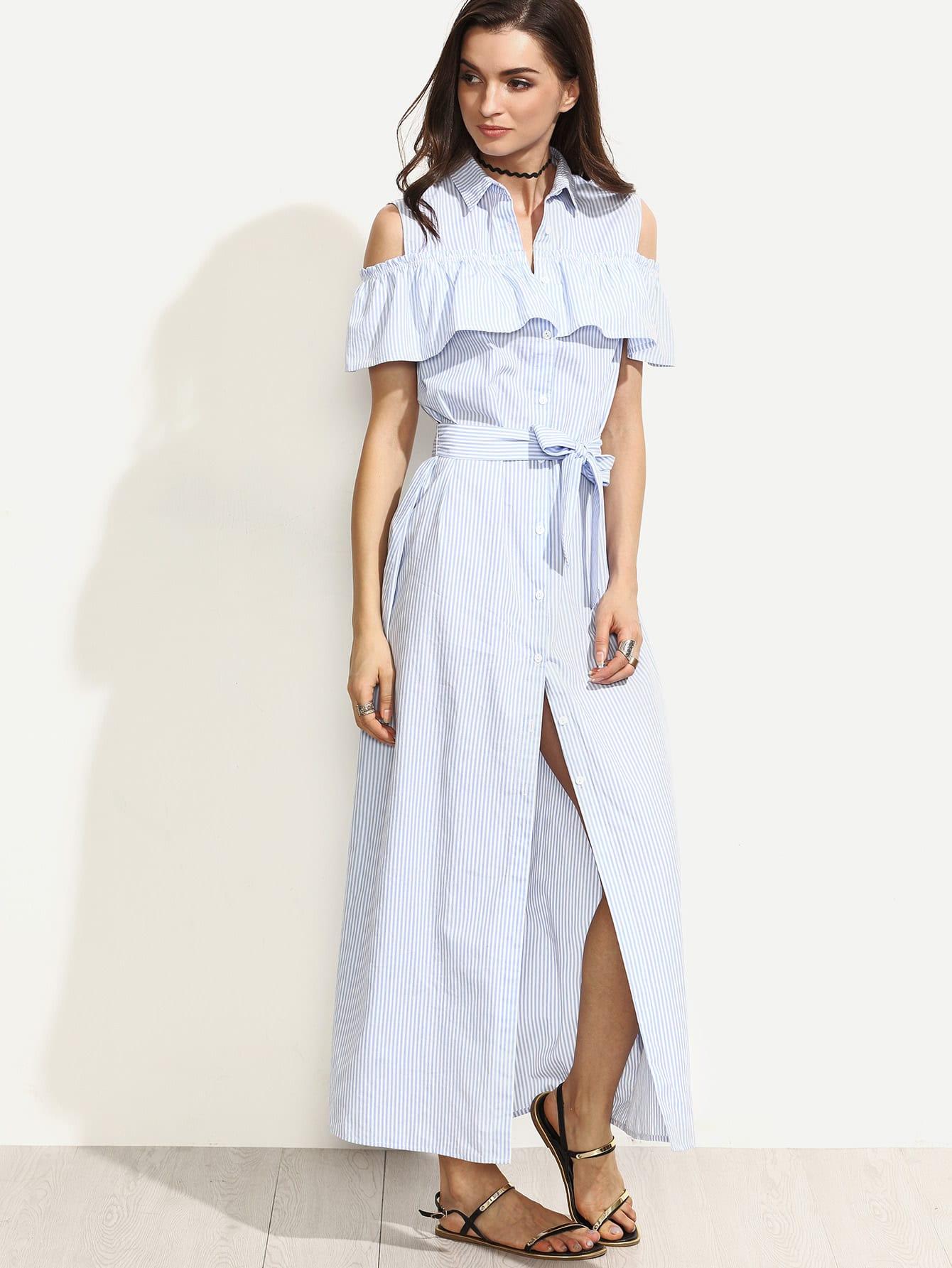 Blue Striped Cold Shoulder Ruffle Tie Waist Long Dress