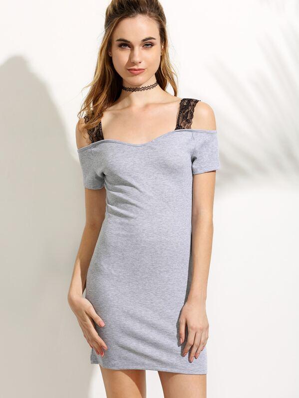 3ff791745 Vestido encaje hombros descubiertos rib - gris