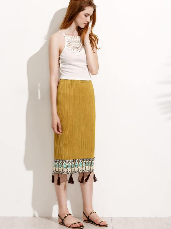 c21f49f7c Yellow Embroidered Tassel Trim Pleated Skirt | SHEIN