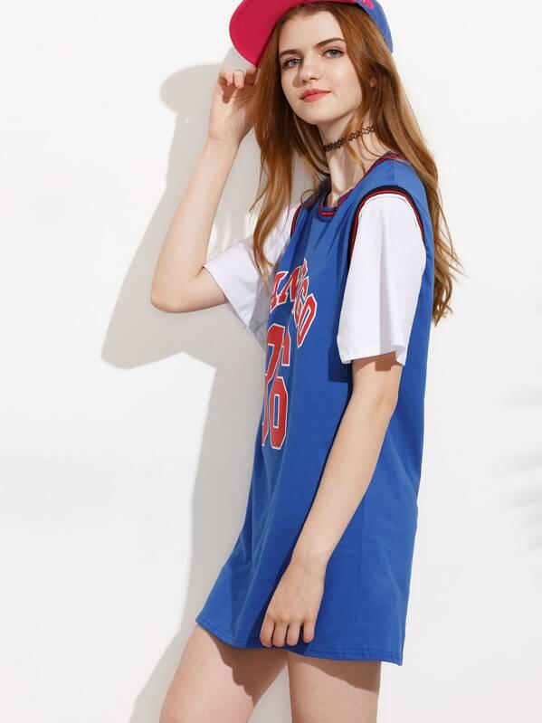 Ball Motif Rayures Bleu Robe Shirt Courte T Basket Manche T3FK1Jcl