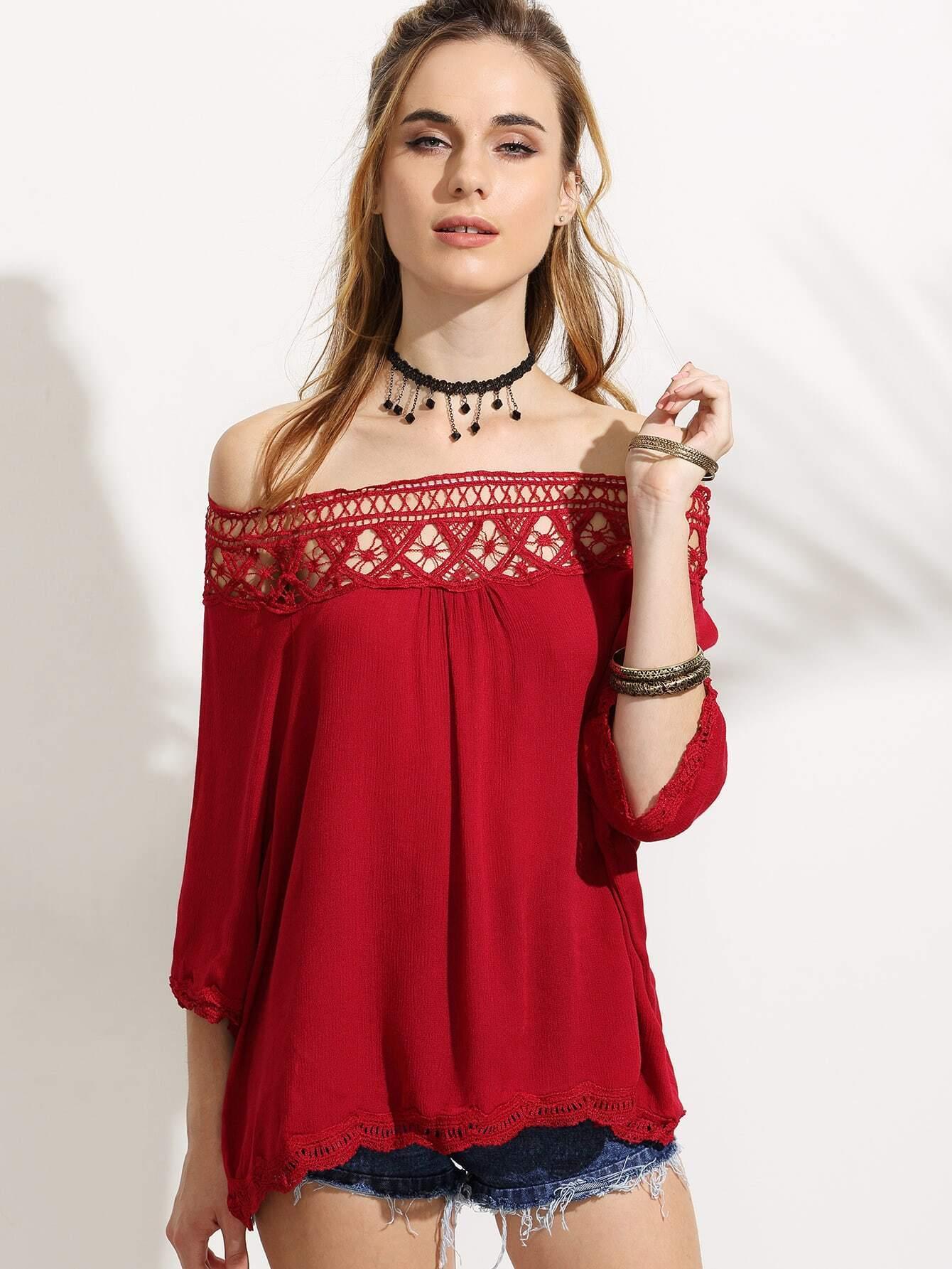 Red Crochet Insert Off The Shoulder Top