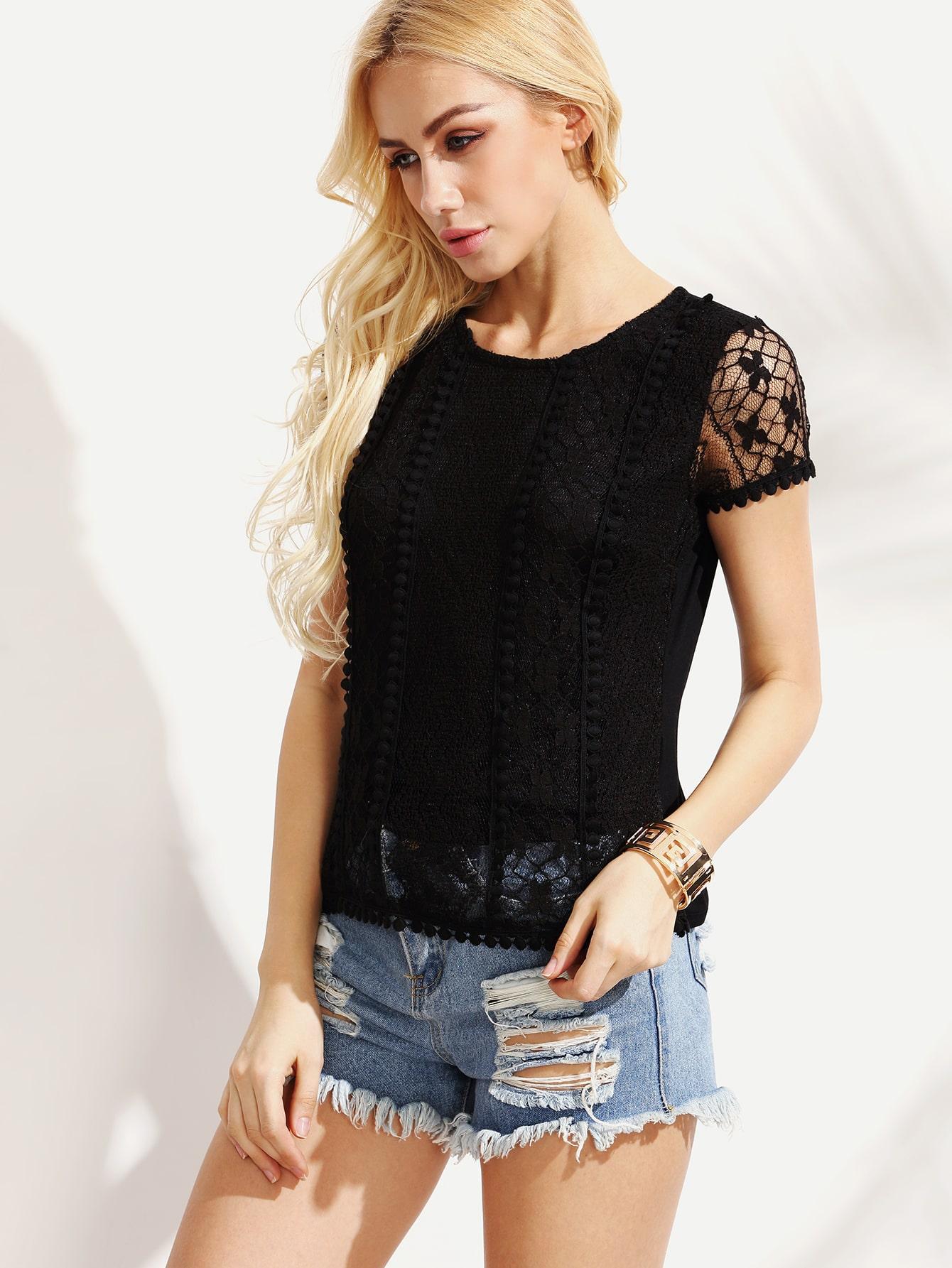 Black Lace Blouse Short Sleeve
