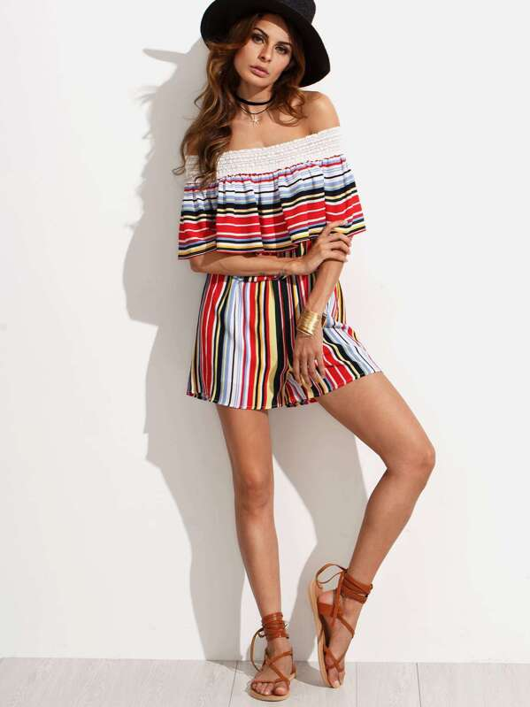 31eae389ede Multicolor Striped Ruffle Off The Shoulder Jumpsuit