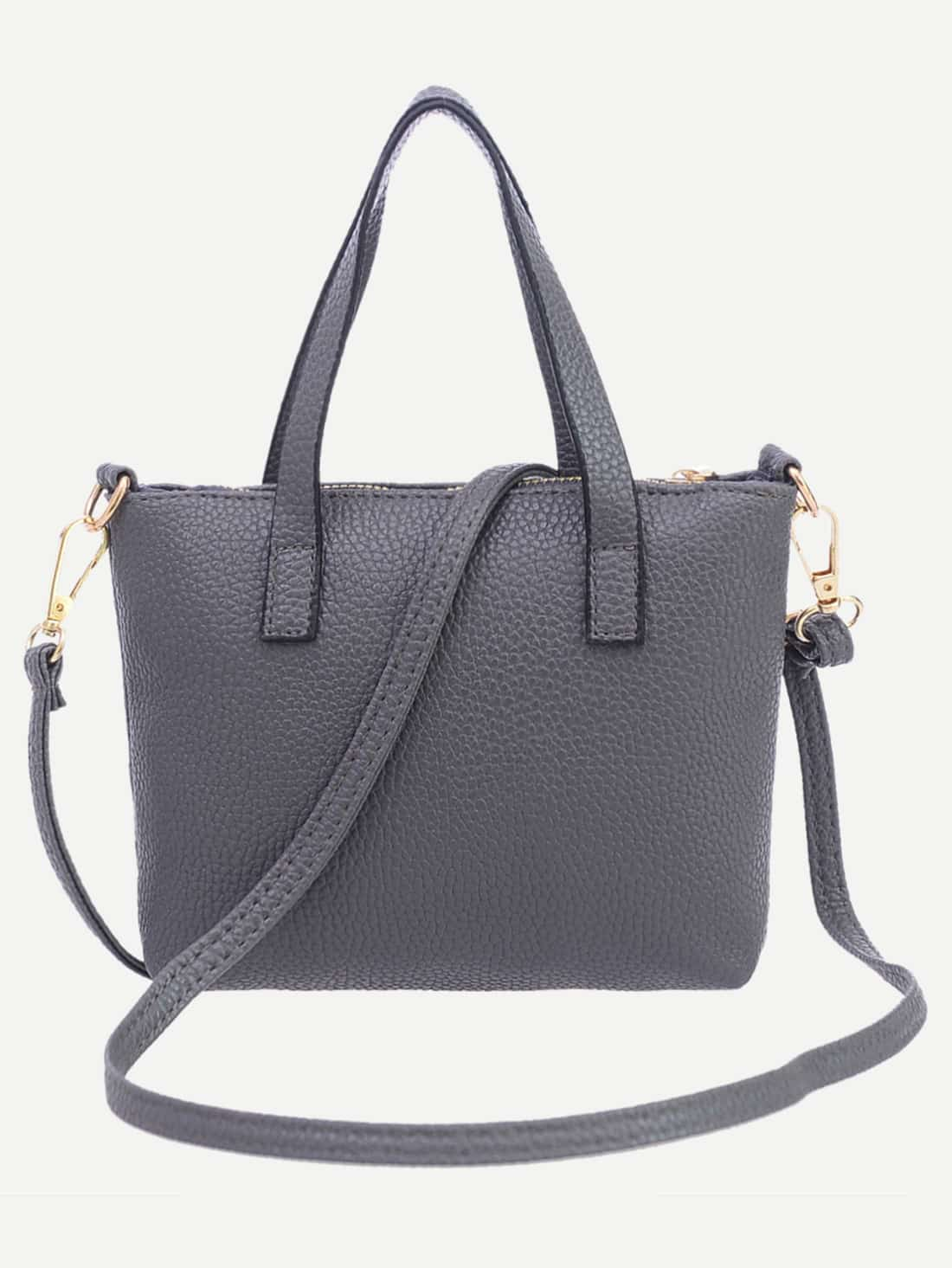 Grey Pebbled Faux Leather Tote Bag With Strap