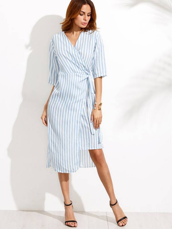 2a62d0e100 Blue V Neck Vertical Striped Knotted Wrap Dress | SHEIN UK