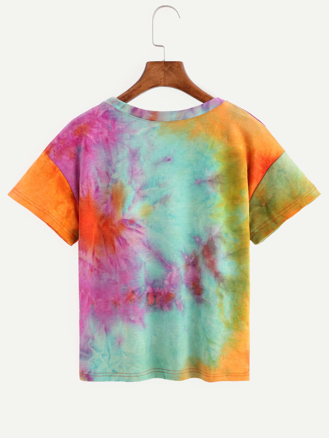 Multicolor random tie dye letter print t shirt shein for Tie dye printed shirts