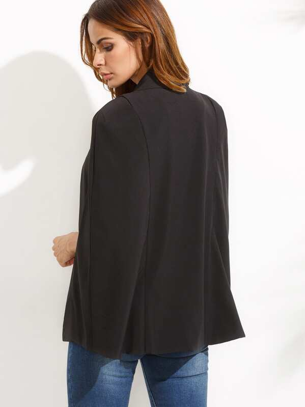 11b91c4e3bbc4 Blazer col châle manche cape - noir-French SheIn(Sheinside)