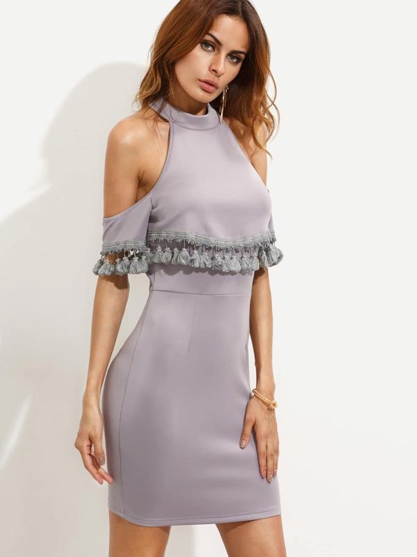 69a0ad88f007 Light Purple Tassel Trim Cold Shoulder Bodycon Dress