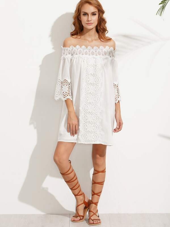 White Crochet Off The Shoulder Dress  6dc6cd1aecf6