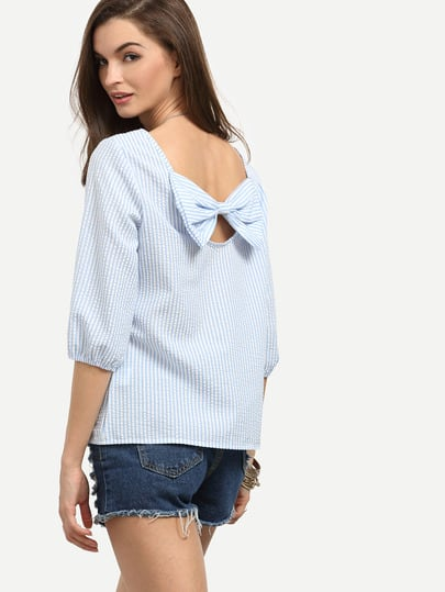 Pinstripe Bow Tie Back 3/4 Length Sleeve Blouse