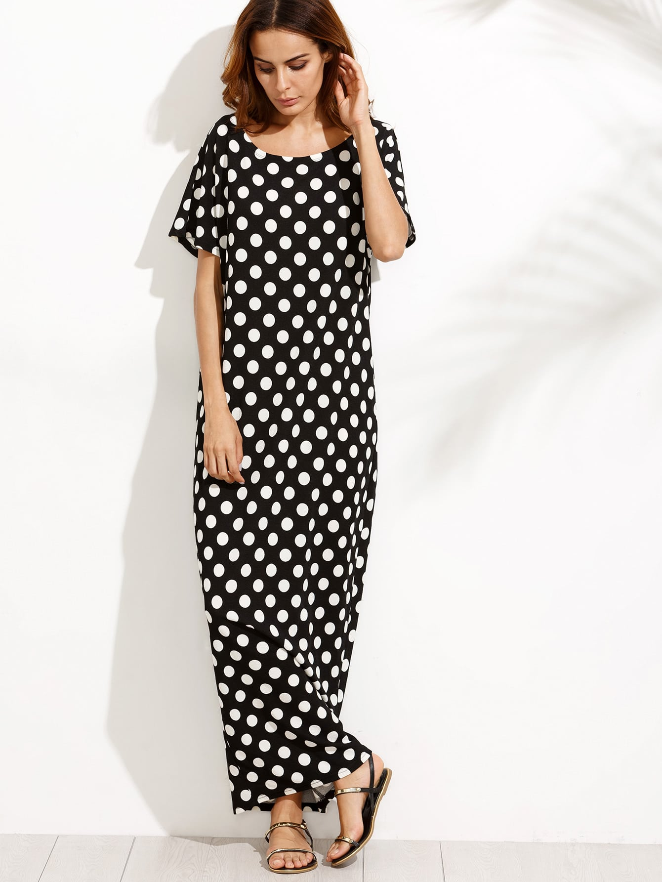 Black and White Polka Dot Pocket Maxi Dress