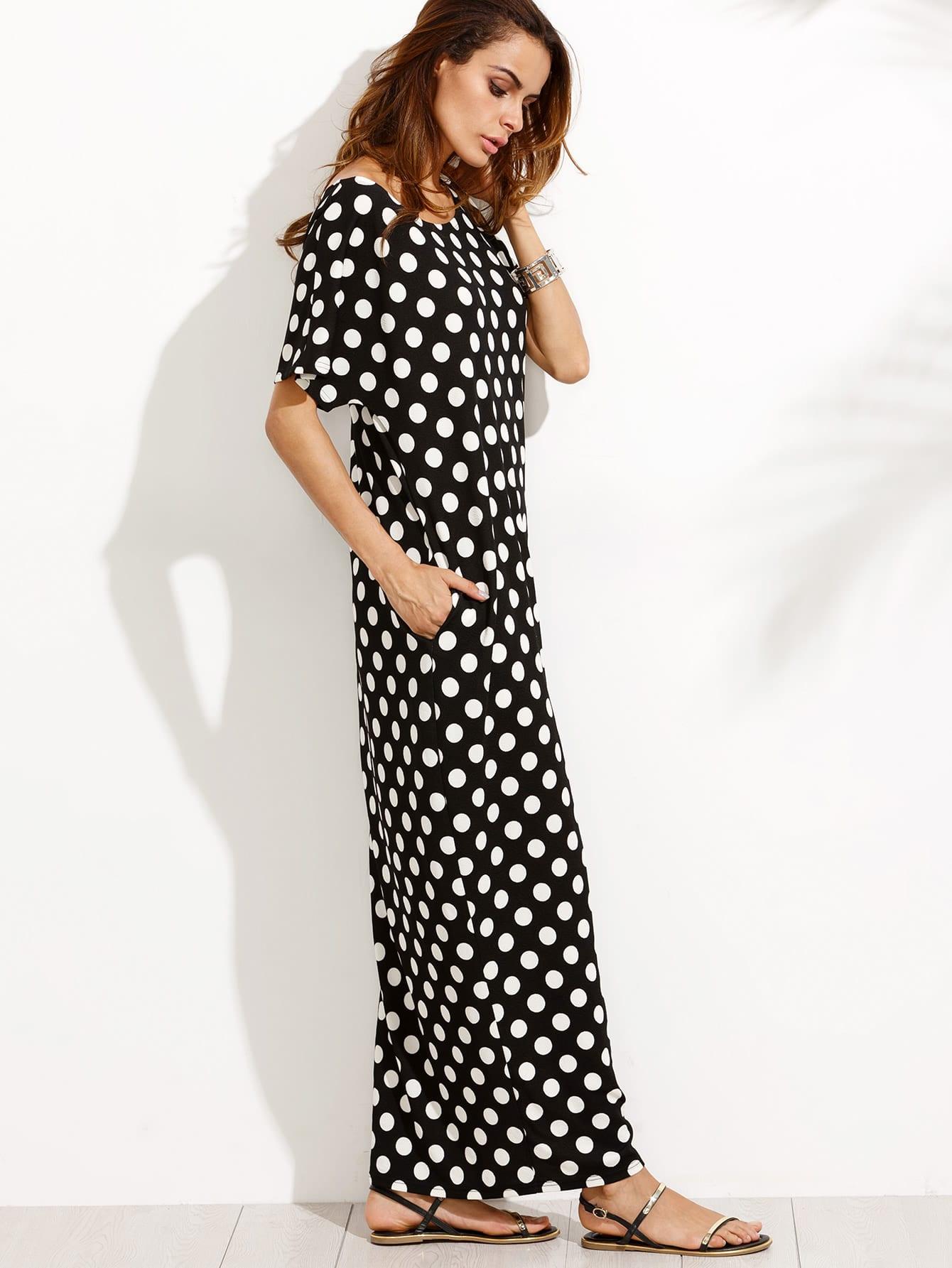 Black and White Polka Dot Pocket Maxi Dress