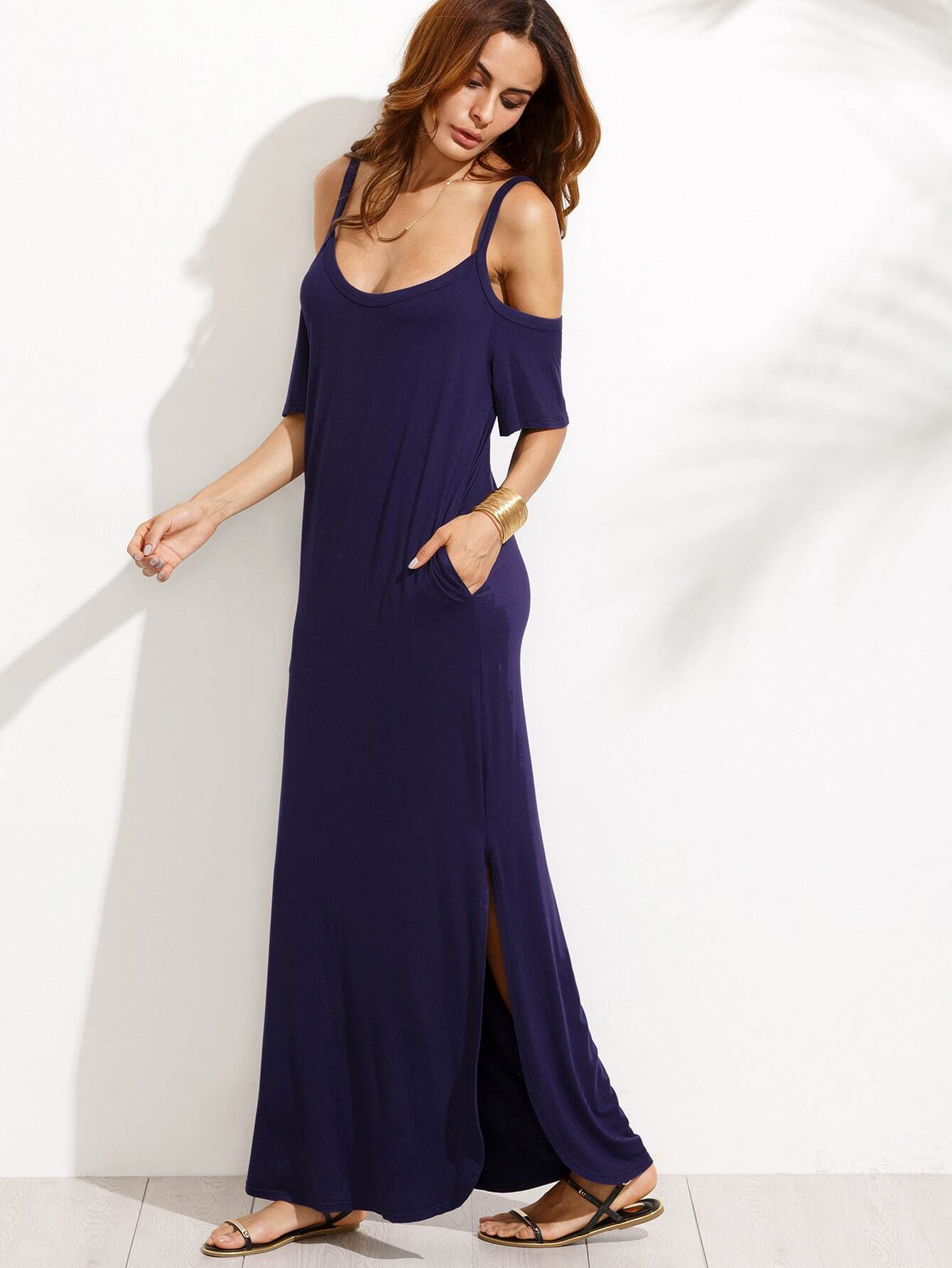 Navy Pocket Cold Shoulder Split Maxi Dress