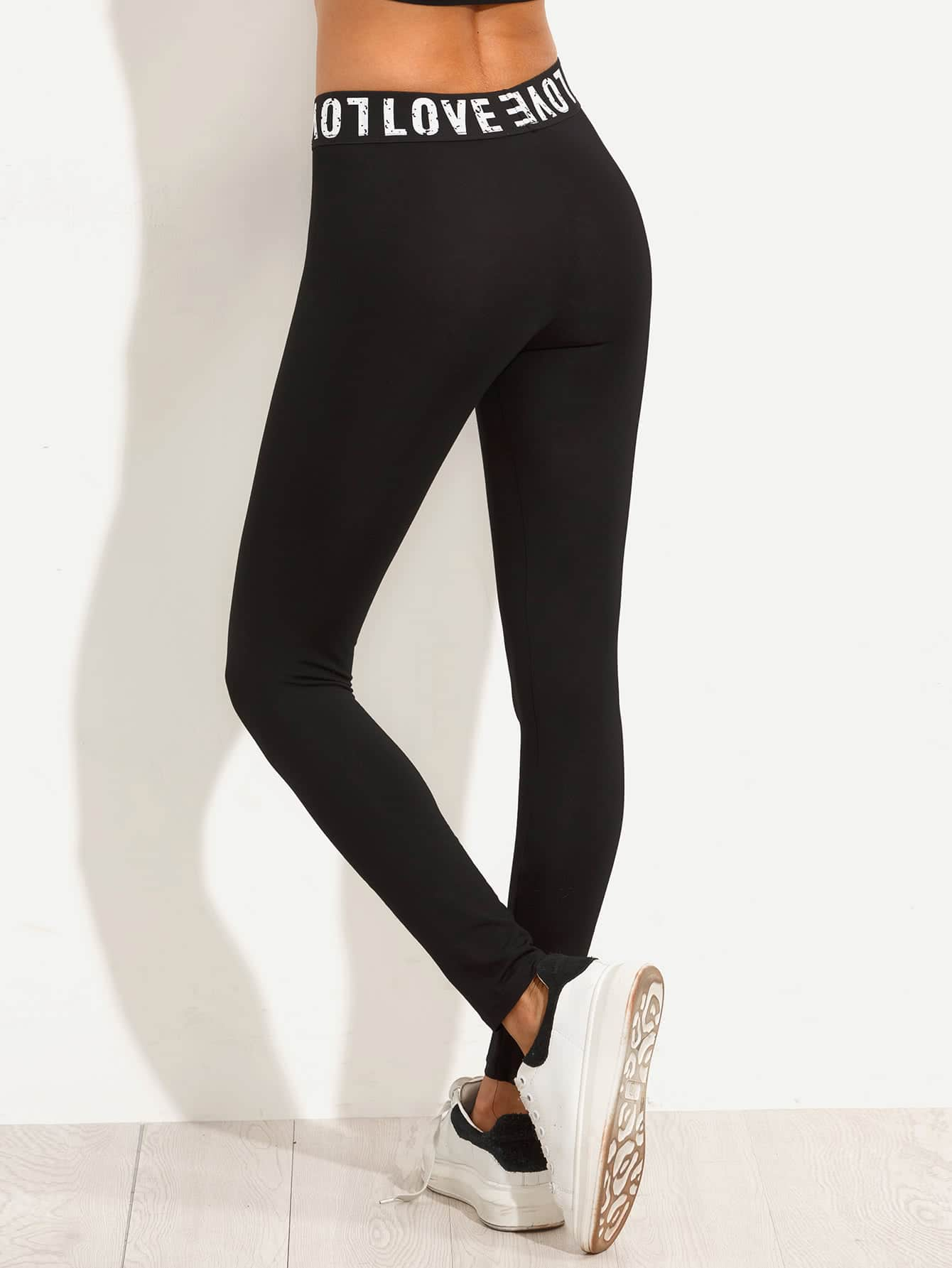 Black Letters Print Stretchy Skinny Leggings