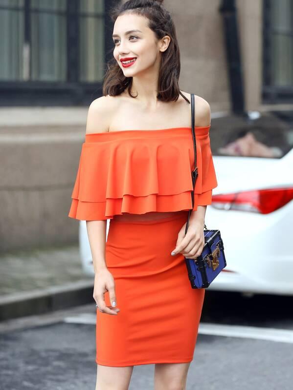 0a12d2eab6 Vestido hombro al aire volantes entallado - naranja