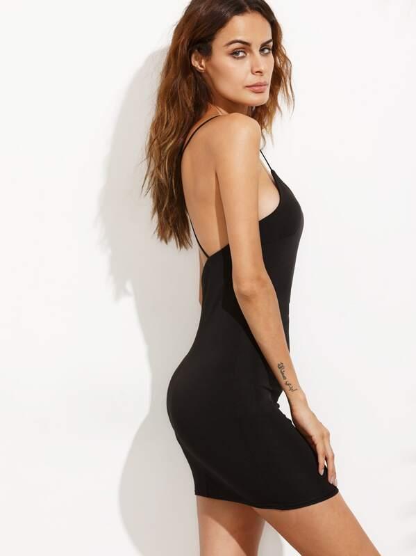 buy online 9bb2c db78c Vestito tubino a schiena nuda con spalline incrociate dietro - nero