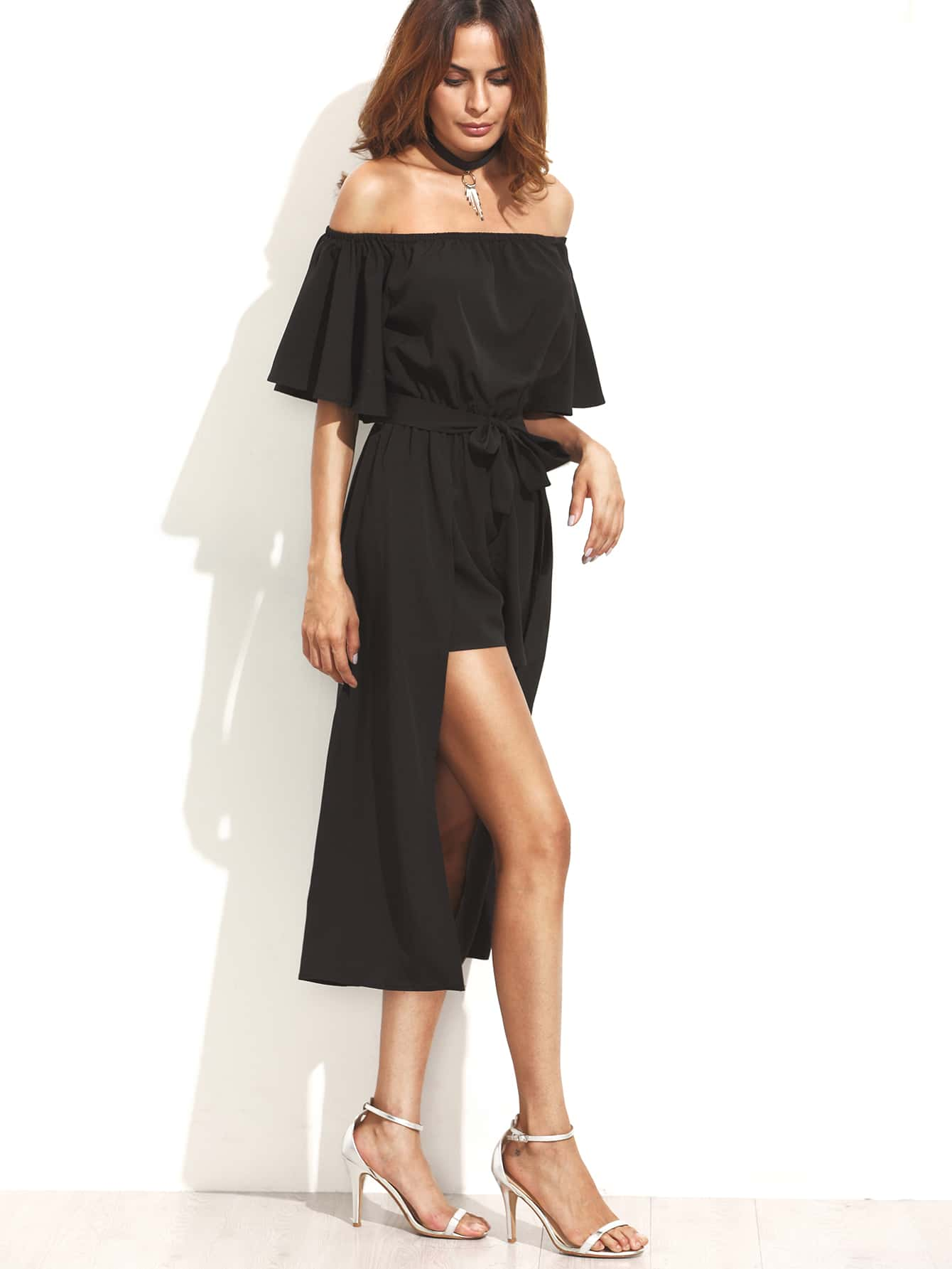 Black Off The Shoulder Jumpsuit With Skirt Overlay -SheIn ...